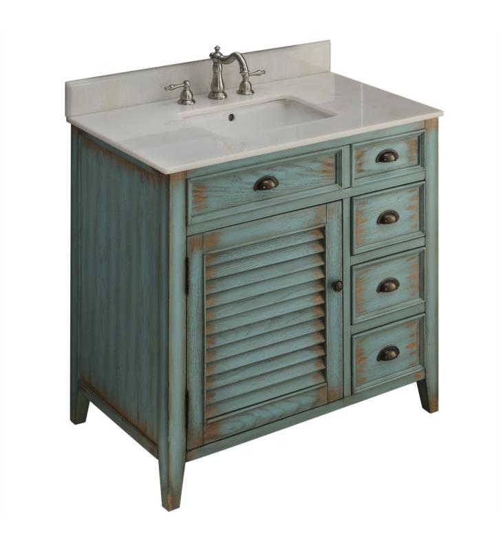 Chans Furniture Cf 78887bu Benton Abbeville 36 Freestanding Cottage Style Single Bathroom Vanity In Distressed Teal Blue