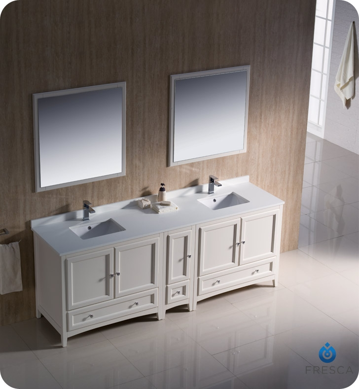 Fresca Fvn20 361236aw Oxford 84 Traditional Double Sink Bathroom Vanity With Side Cabinet In Antique White