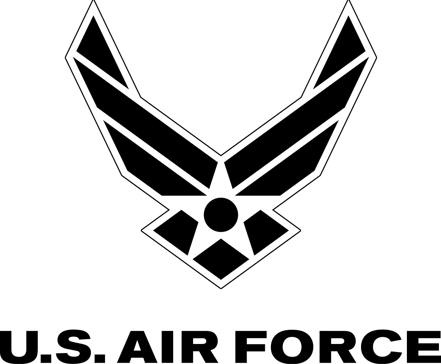Air Force symbol with logotype, black with white outline