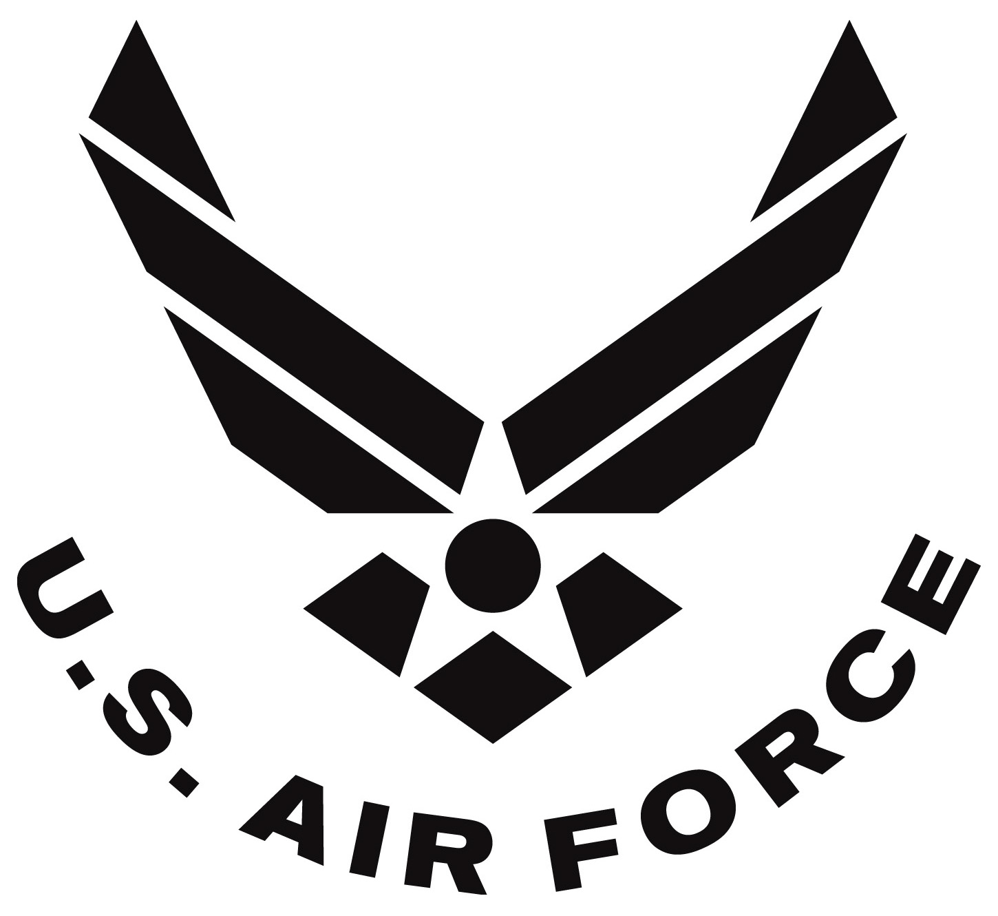 Air Force symbol, curved text, black