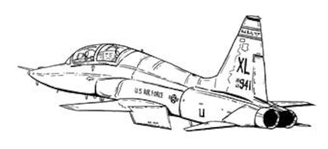 Black and white line drawing of T-38C