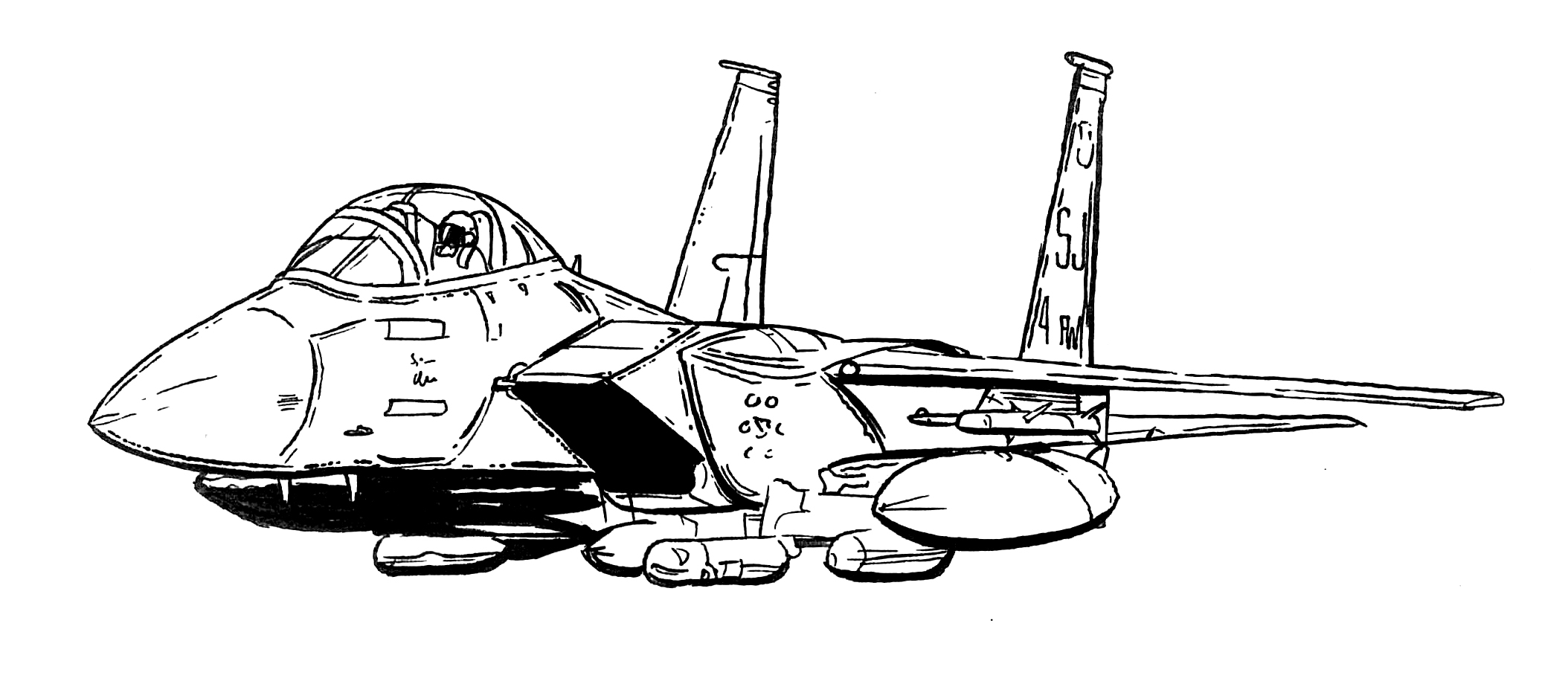 Black and white line drawing of F-15E Strike Eagle