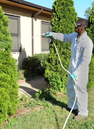 An entomologist in white overalls sprays chemicals on a tree in a yard.