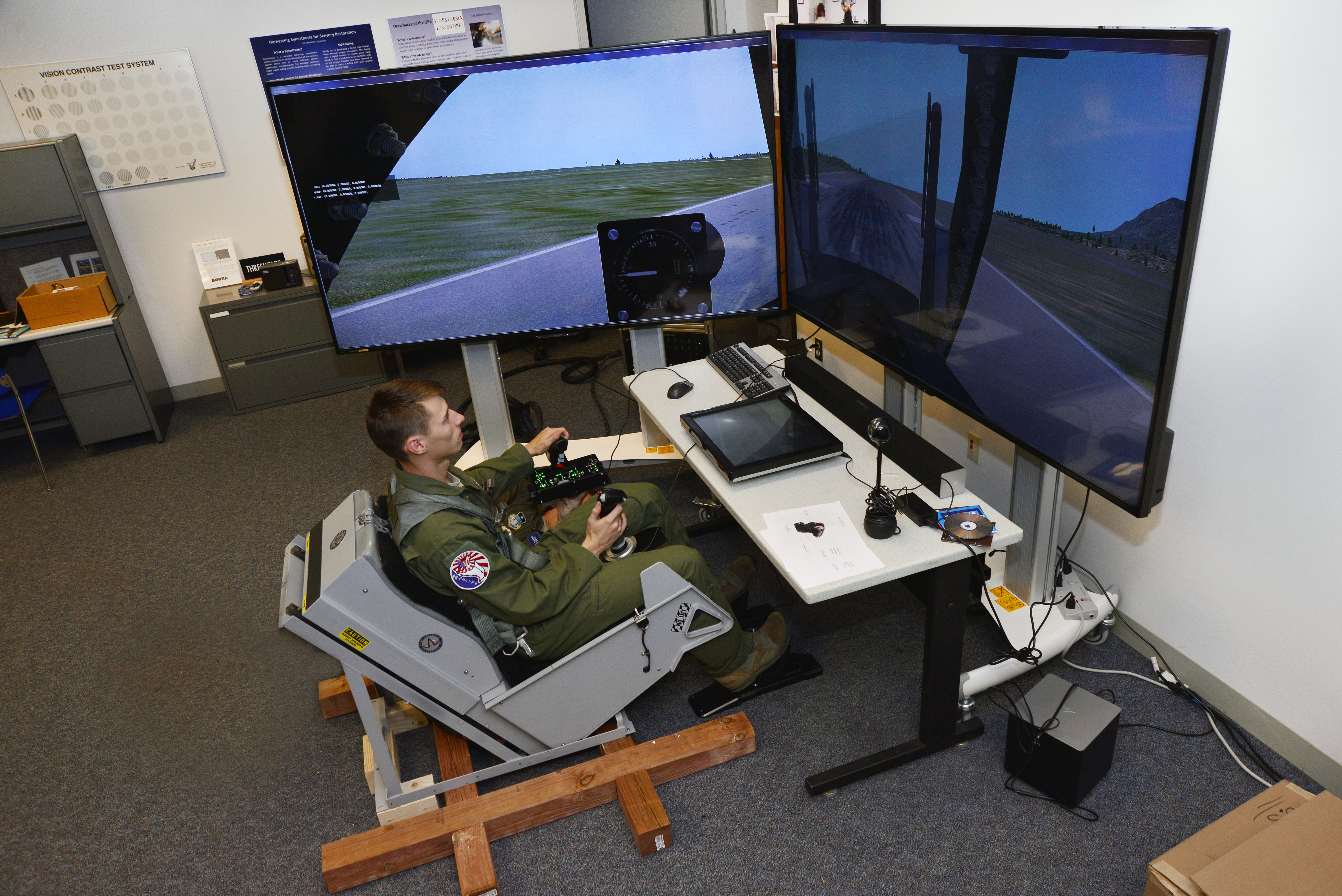 flight simulator chair motion lift recliner costco cadet research project designed to improve training