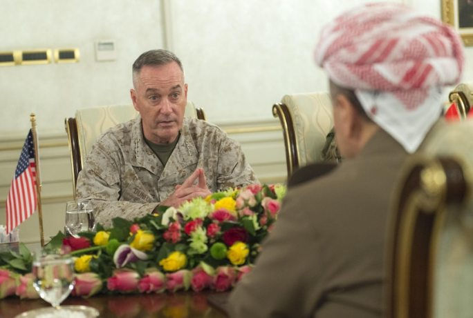 Marine Corps Gen. Joe Dunford, chairman of the Joint Chiefs of Staff, speaks with Massoud Barzani, president of of Iraq's Kurdistan region, in Iraq, April 22, 2016. DoD photo by Navy Petty Officer 2nd Class Dominique A. Pineiro
