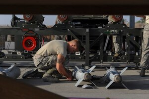 An Air Force airman, assigned to the 447th Expeditionary Aircraft Maintenance Squadron, prepares the tail section of a GBU-54 Laser Joint Direct Attack Munition bomb at Incirlik Air Base, Turkey, Oct. 29, 2016. The bombs built and delivered by the airmen are primarily used by the A-10 Thunderbolt II, an aircraft designed for close air support of ground forces. Air Force photo by Airman 1st Class Devin M. Rumbaugh