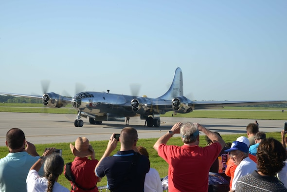 A B-29 Superfortress, also known as Doc, taxies before takeoff for its first flight in about 60 years at McConnell Air Force Base, Kan., July 17, 2016. Hundreds of people gathered on and around McConnell AFB to watch the historic flight. (U.S. Air Force photo/Airman 1st Class Christopher Thornbury)