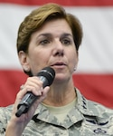 U.S. Air Force Gen. Lori Robinson, Pacific Air Forces commander, addresses Airmen during an all-call July 10, 2015, at Andersen Air Force Base, Guam. Robinson outlined her priorities, including taking care of Airmen and their families while accomplishing the mission. Air Force photo by Senior Airman Katrina M. Brisbin/Released