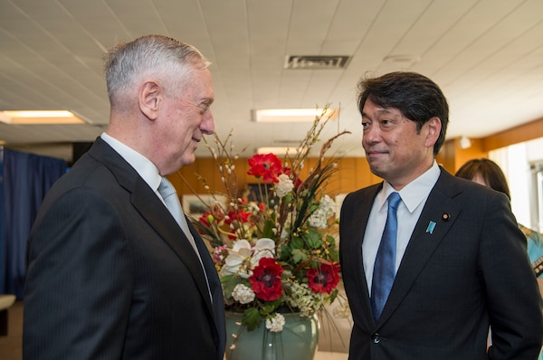 Defense Secretary Jim Mattis, left, greets Japanese Defense Minister Itsunori Onodera at the State Department ahead of a U.S.-Japan Security Consultative Committee meeting, Aug. 17, 2017. DoD photo by Air Force Tech. Sgt. Brigitte N. Brantley