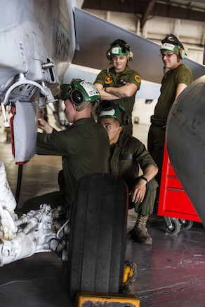 Marines work on the landing gear of an F/A-18D Hornet during exercise Jaded Thunder 17 at Salina, Kansas, Feb. 22, 2017. Marine Corps photo by Lance Cpl. Zachary M. Ford
