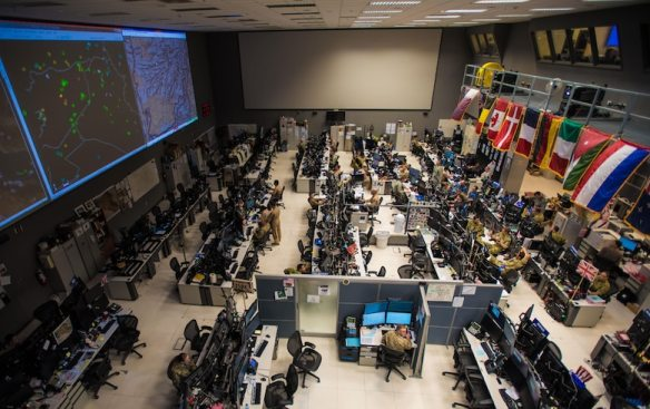 Combined Air Operations Center (CAOC) at Al Udeid Air Base, Qatar, provides command and control of air power throughout Iraq, Syria, Afghanistan, and other nations in the U.S. Air Forces Central Command region. The CAOC comprises joint and Coalition teams that execute day-to-day combined air and space operations and provide rapid reaction, positive control, coordination, and de-confliction of weapon systems. (U.S. Air Force photo by Staff Sgt. Alexander W. Riedel)