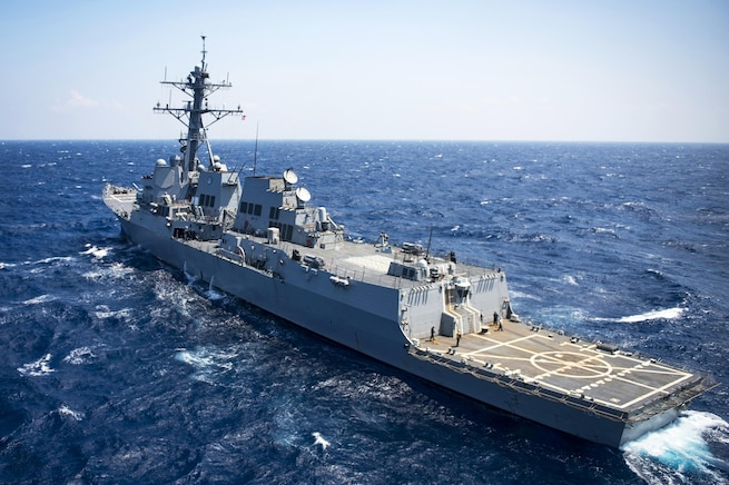 The guided-missile destroyer USS Wayne E. Meyer transits the South China Sea, March 2, 2017. Navy photo by Petty Officer 3rd Class Kurtis A. Hatcher