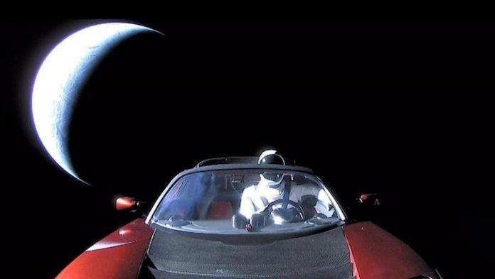 Hood cam shot of Musk's Tesla to the Stars