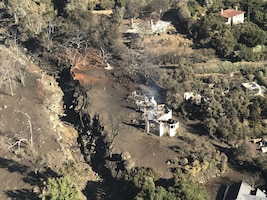 Aerial view of California mudslide area shot from an Air National Guard helicopter performing search and rescue operations.