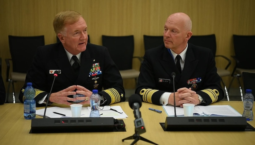 Navy Adm. James G. Foggo III, left, commander of NATO's Joint Force Command based in Naples, Italy, and Norwegian navy Vice Adm. Ketil Olsen, his nation's military representative to the NATO Military Committee, briefed reporters on the planning for Exercise Trident Juncture 2018 at NATO headquarters in Brussels, June 11, 2018. Foggo also is the commander of U.S. Naval Forces Europe and Africa. NATO photo