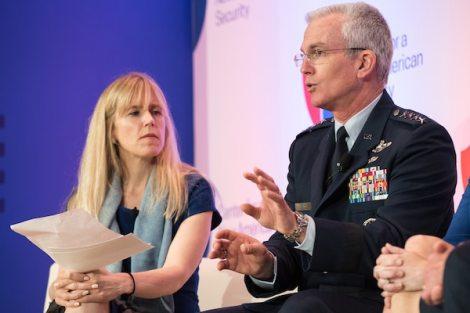 Air Force Gen. Paul J. Selva, vice chairman of the Joint Chiefs of Staff, answers an audience question during the Center for a New American Security's annual conference in Washington, D.C., June 21, 2018. DoD photo by Army Sgt. James K. McCann
