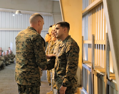 Ssgt Joseph T Enson The First Marine To Receive A Coin From Brigar General Jason Training Command Visit