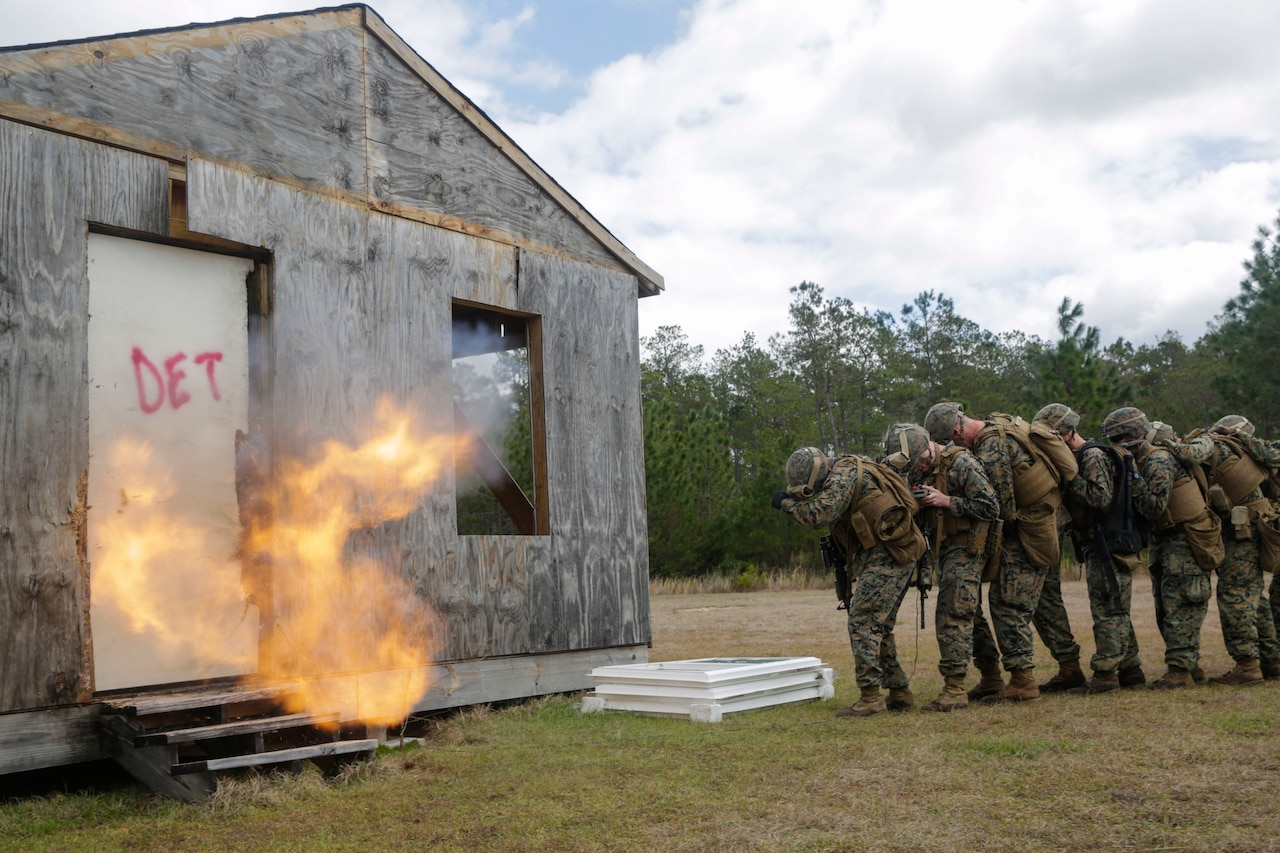 Marines Conduct Urban Breaching Training At Camp Lejeune