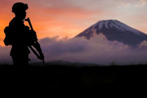 A Marine provides security during a training exercise at Camp Fuji, Japan, May 3, 2018. The Marine is assigned to Headquarters Battery, 3rd Battalion, 12th Marine Regiment. Marine Corps photo by Sgt. Carl King