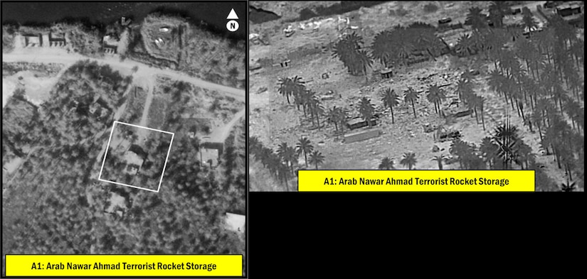 Aerial view of a weapons storage facility before and after it was struck by missiles.