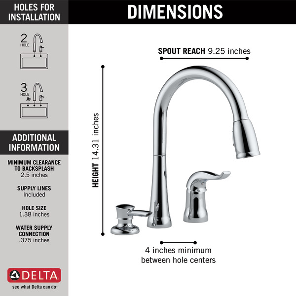 3 piece kitchen faucet ikea cabinet doors single handle pull down with soap dispenser 16970 sd