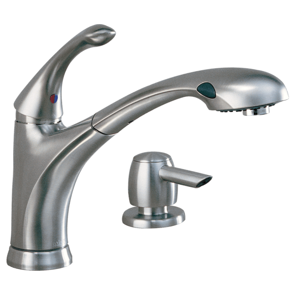 delta single handle kitchen faucet appliance bundles pull out with soap dispenser 16927 sssd download image