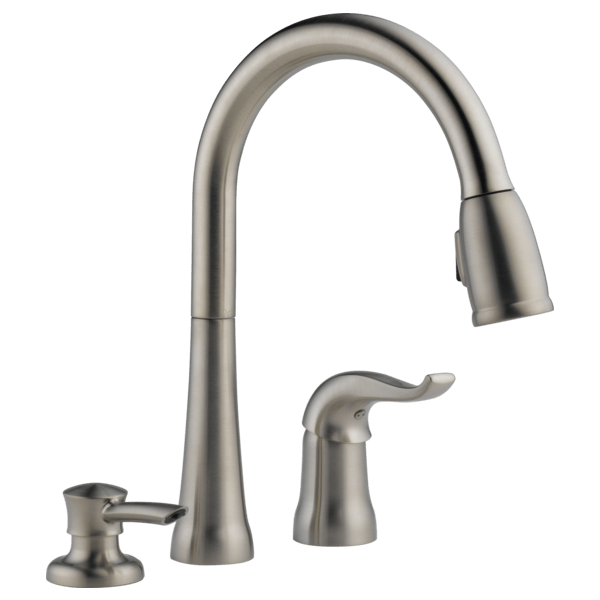 stainless steel kitchen faucets rear travel trailer single handle pull down faucet with soap dispenser 16970 download image