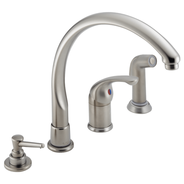delta single handle kitchen faucet games cooking with spray soap dispenser 174 sswf waterfall