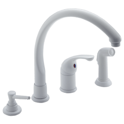 White Kitchen Faucet Ventilation Fans Single Handle With Spray Soap Dispenser 174 Whwf Waterfall