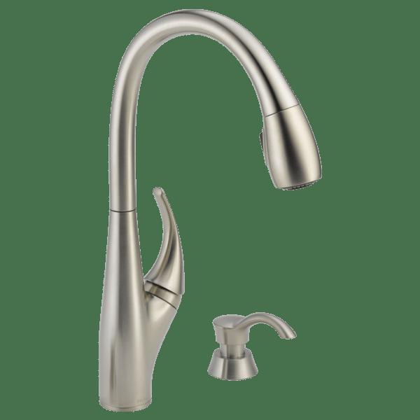 kitchen pull down faucet monogrammed towels single handle 19912 sssd dst delta download image