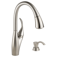 Delta Izak Kitchen Faucet Best Appliance Brands Single Handle Pull Down With Soap Dispenser 19932