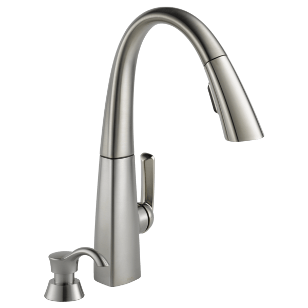stainless kitchen faucet cabinets doors single handle pull down 19936 spsd dst delta