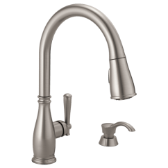 Moen Pull Down Kitchen Faucet Liquidation Cabinets Single Handle With Soap Dispenser 19962 Download Image
