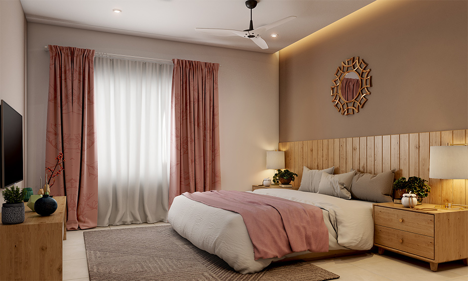 Bedroom mistakes in interior design with longer curtains look untidy and become dirty quickly.