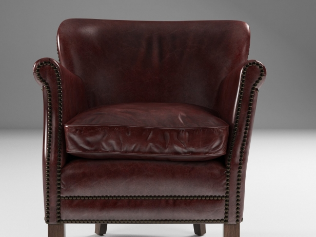 professor chair restoration hardware brown accent professor's leather with nailheads 3d model |