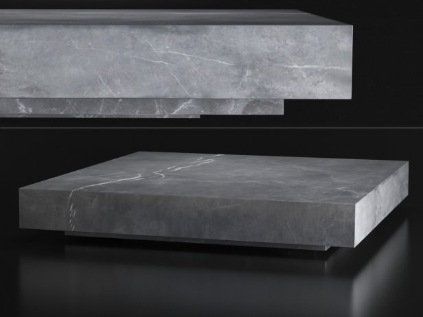 Low Marble Plinth Square Coffee Table 3d model