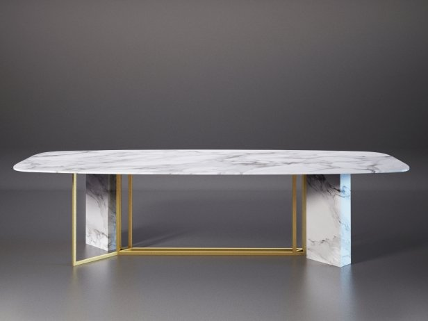 Plinto Biscuit Dining Table 3d model  Meridiani