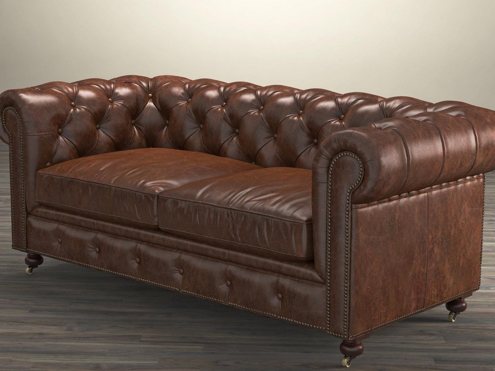 kensington leather chair desk home office 72 quot the petite sofa 3d model