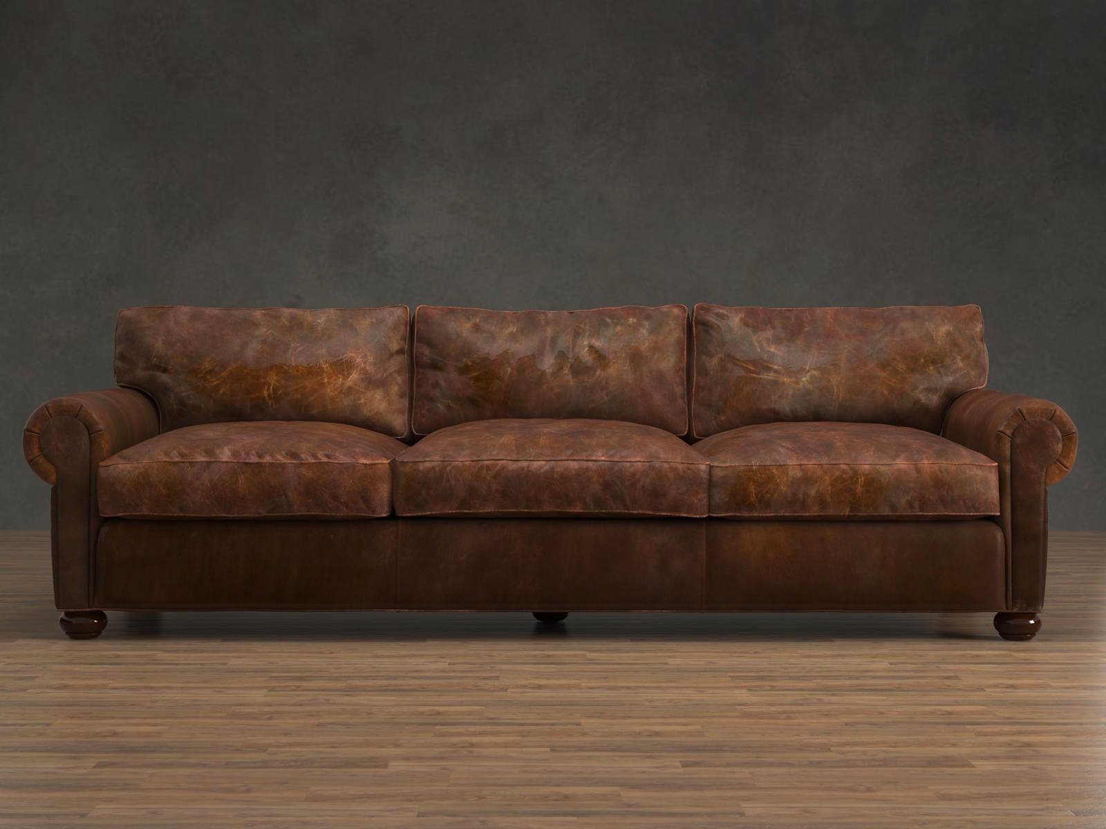 tindall 96 leather sofa wood chair set quot lancaster 3d model restoration hardware