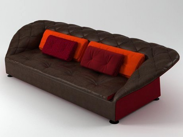bohemian sofa bed leather black and red 3d model moroso 2