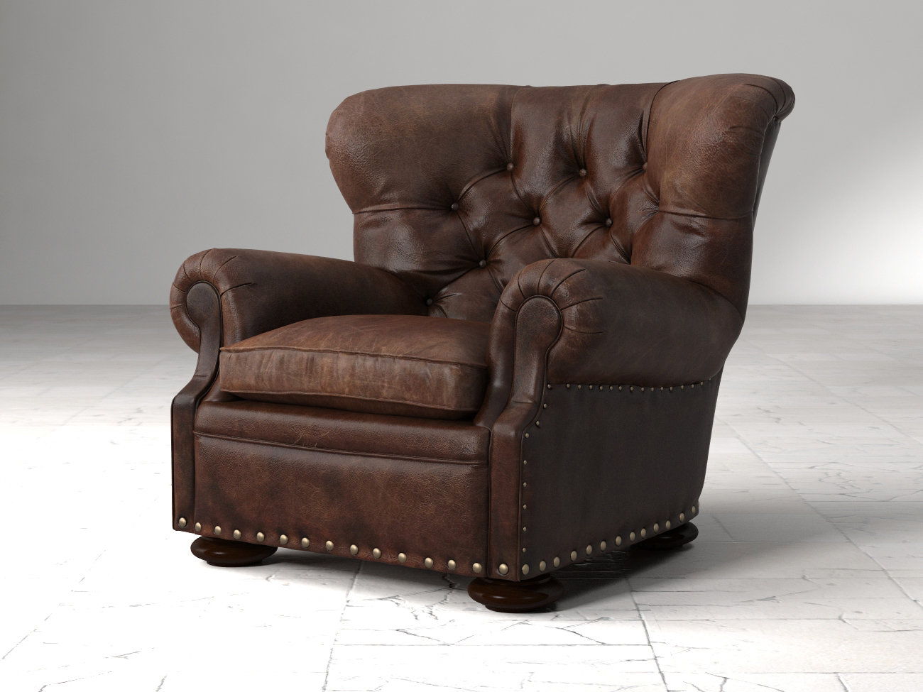 Restoration Hardware Leather Chairs Churchill Leather Chair With Nailheads 3d Model
