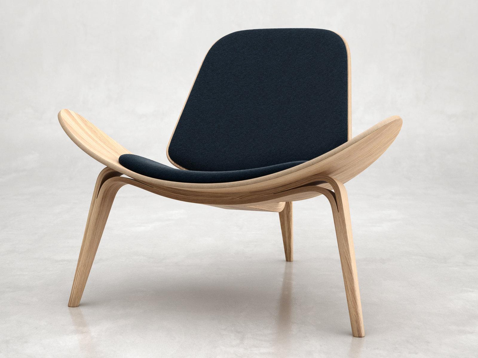 chair design model posture and ottoman set white ch07 shell 3d carl hansen
