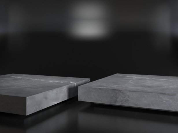 Low Marble Plinth Square Coffee Table 3d model  Restoration Hardware