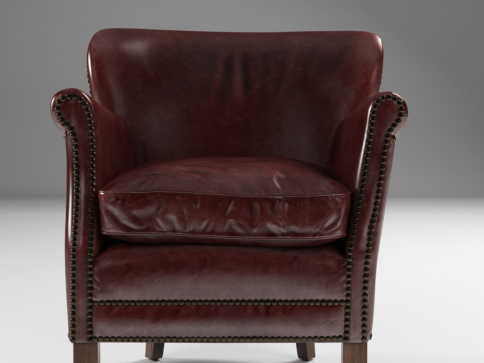 professor chair restoration hardware relax reclining india 39s leather with nailheads 3d model