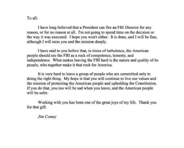 James Comey agradece a empleados de FBI en carta de