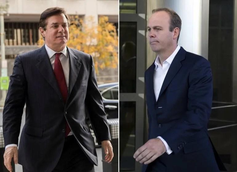 Paul Manafort (izq.), exjefe de campaña del presidente Donald Trump, y su exsocio Rick Gates (der.).