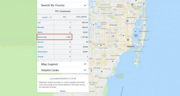 Solo en el condado de Miami-Dade se reportaron más de 3.000 cortes de electricidad.
