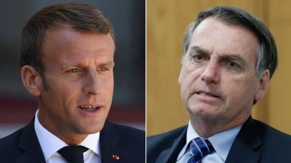 Emmanuel Macron (izq.), presidente de Francia, y su homólogo brasileño, Jair Bolsonaro.