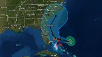 Proyección de la trayectoria del huracán Dorian a las 11:00 am del 31 de agosto.