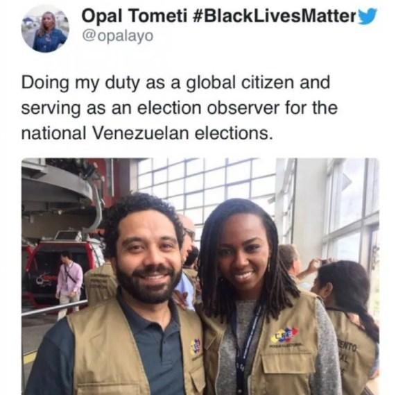 Opal Tometi, de origen nigeriano es cofundadora de Black Lives Matter, ella participó como observadora electoral en Venezuela en 2015.